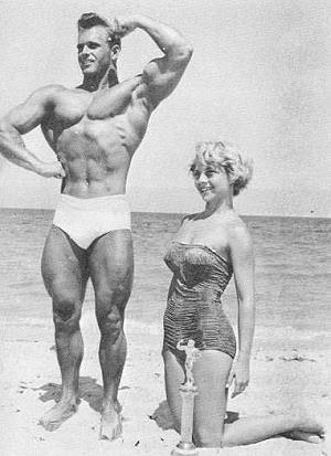 bodybuilder Vic Seipke with Jeanne Mc Corkle on miami beach