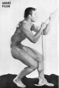 vintage muscle man posing for Crew magazine
