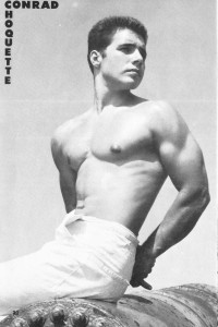 vintage bodybuilder posing photo art