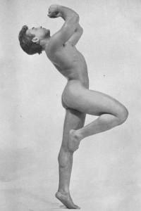 vintage muscle man posing naked