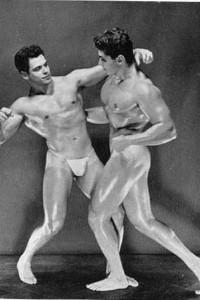 twho vintage muscle man posing