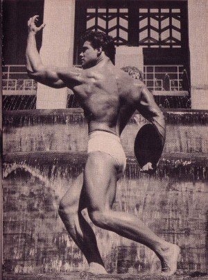 beautiful vintage photo of muscular bodybuilder Steve