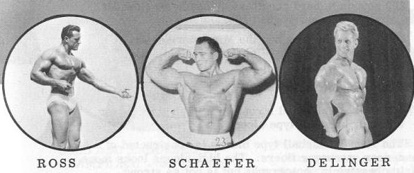 Vintage bodybuilders Ross, Schaefer and Delinger