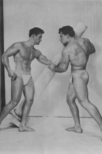 two bodybuilder posing together