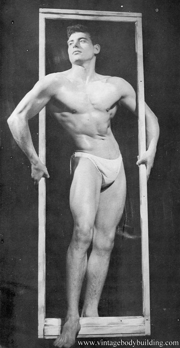 perfect bodybuilder posing for male vintage physique magazine