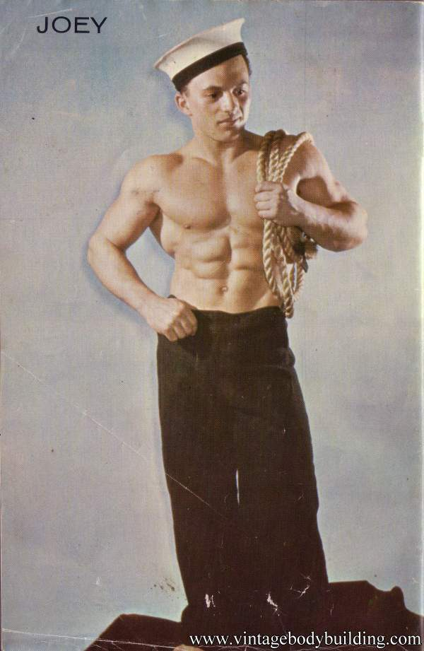 muscle sailor boy posing for vintage physique magazine Crew
