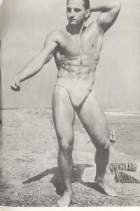 vintage bodybuilder posing for American Physique