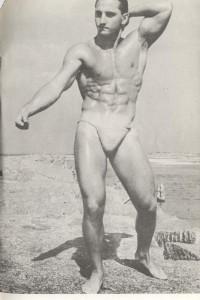 vintage bodybuilder posing for American Physique