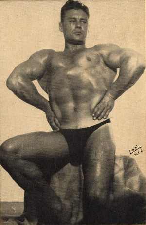 extraordinary dreadnought chest pose of Frank Leight