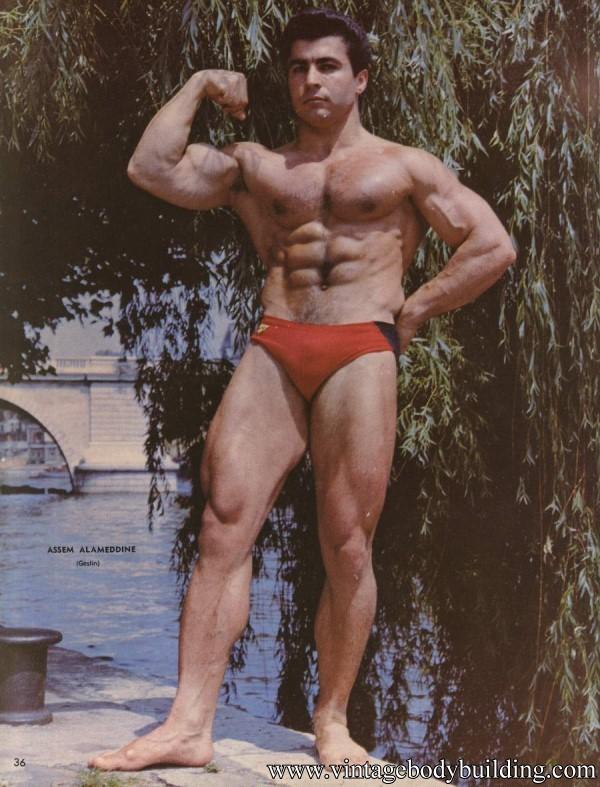 vintage physique bodybuilder colour image