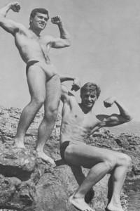 Two muscle male models by Jean Ferrero