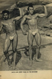 two handsome muscle models vintage photo
