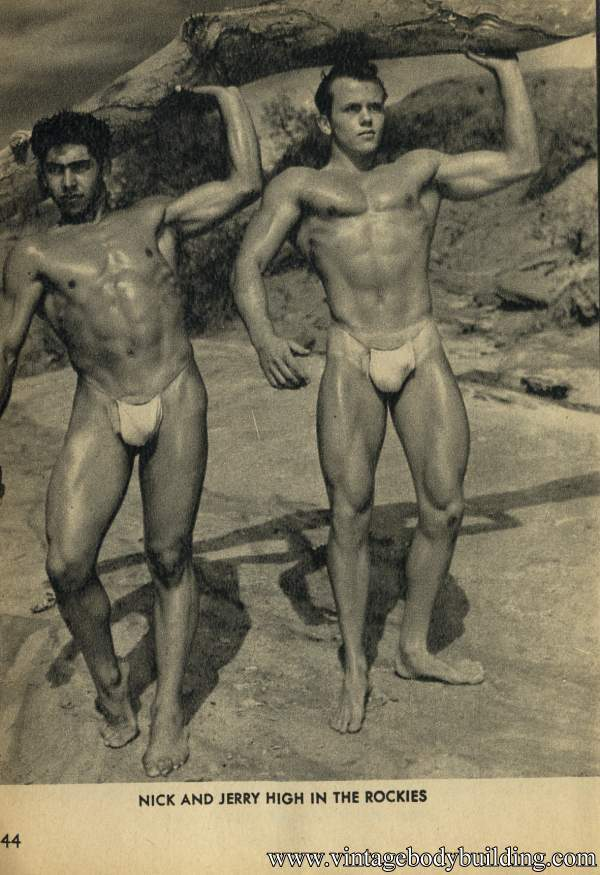 two handsome bodybuilder outdoors