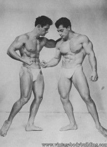 Two bodybuilders posing