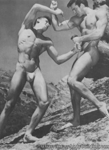 Bodybuilder fighting outoors